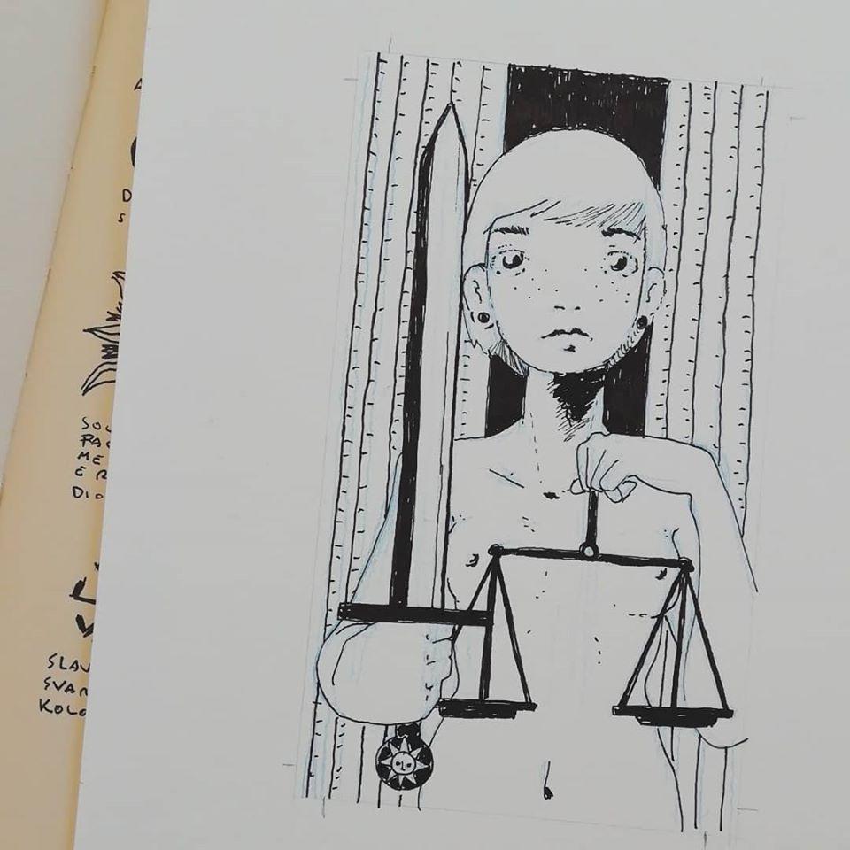 La Giustizia - Tarocchi d'artista di Diego Gabriele