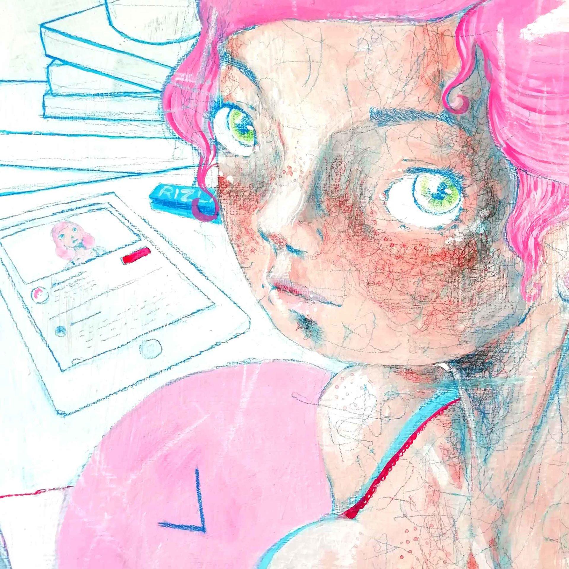 Gamer Girl Pittura contemporanea quadro ad acrilico di Diego Gabriele