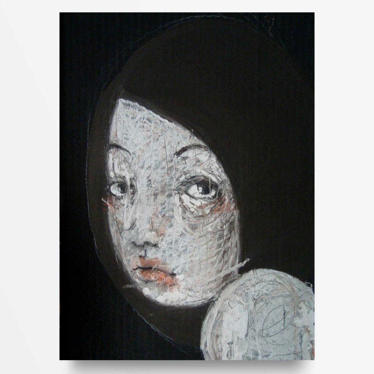 2012 Fondi neri, Ritratto di ragazza, quadro ad acrilico di Diego Gabriele