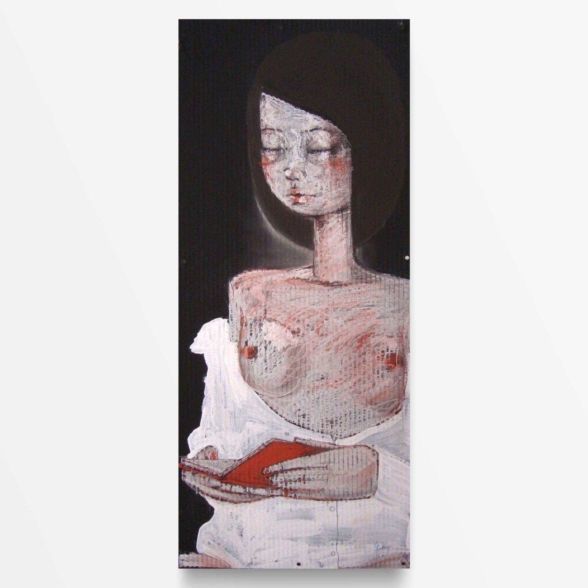 2012 Fondi neri, Ragazza che legge, quadro ad acrilico di Diego Gabriele