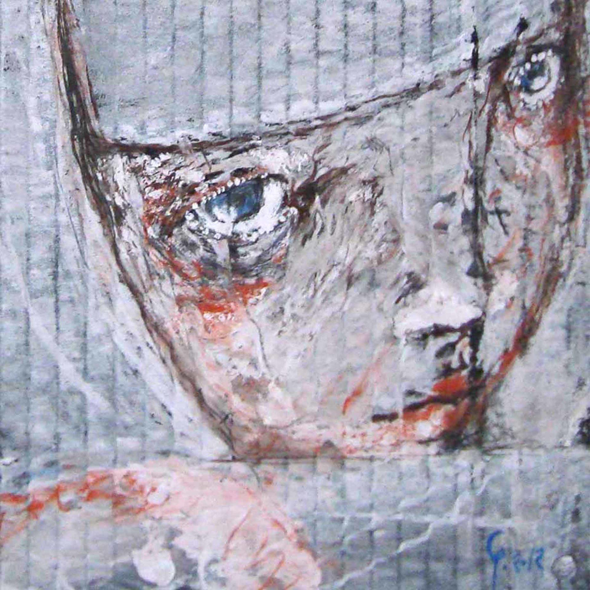 2012 Fondi Neri, Ritratto di Ragazza albina, quadro ad acrilico di Diego Gabriele