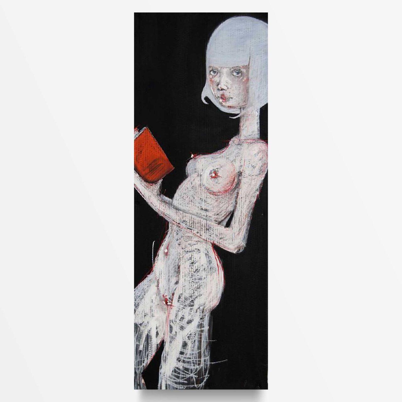 2013 Ragazza dai capelli bianchi che legge quadro acrilico di Diego Gabriele