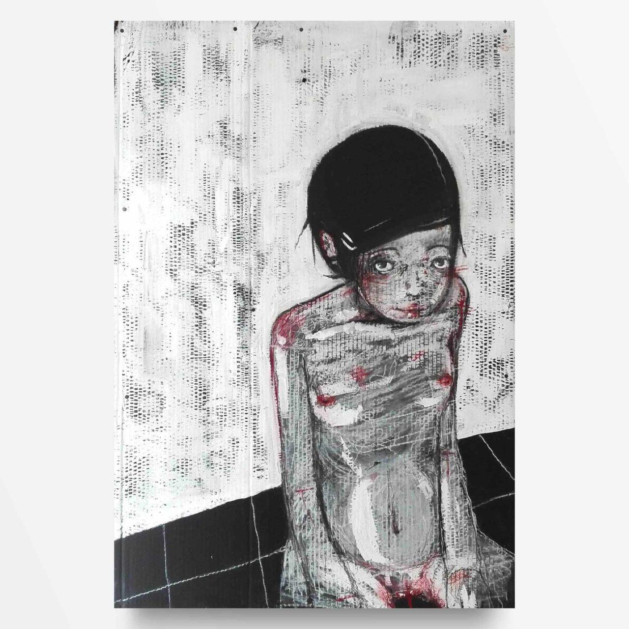 2013 Ragazza a terra, quadro ad acrilico di Diego Gabriele