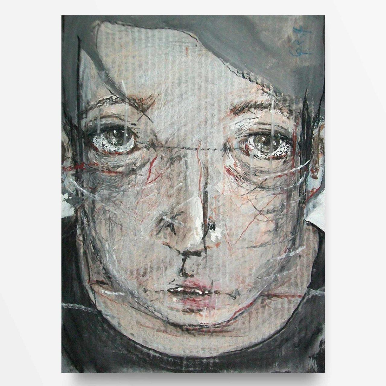 2014 Ritratto di ragazzo, quadro ad acrilico di Diego Gabriele