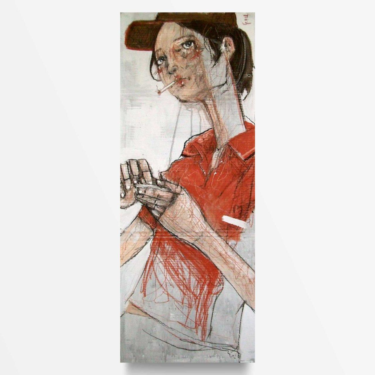 2014 Pausa Sigaretta quadro ad acrilico di Diego Gabriele