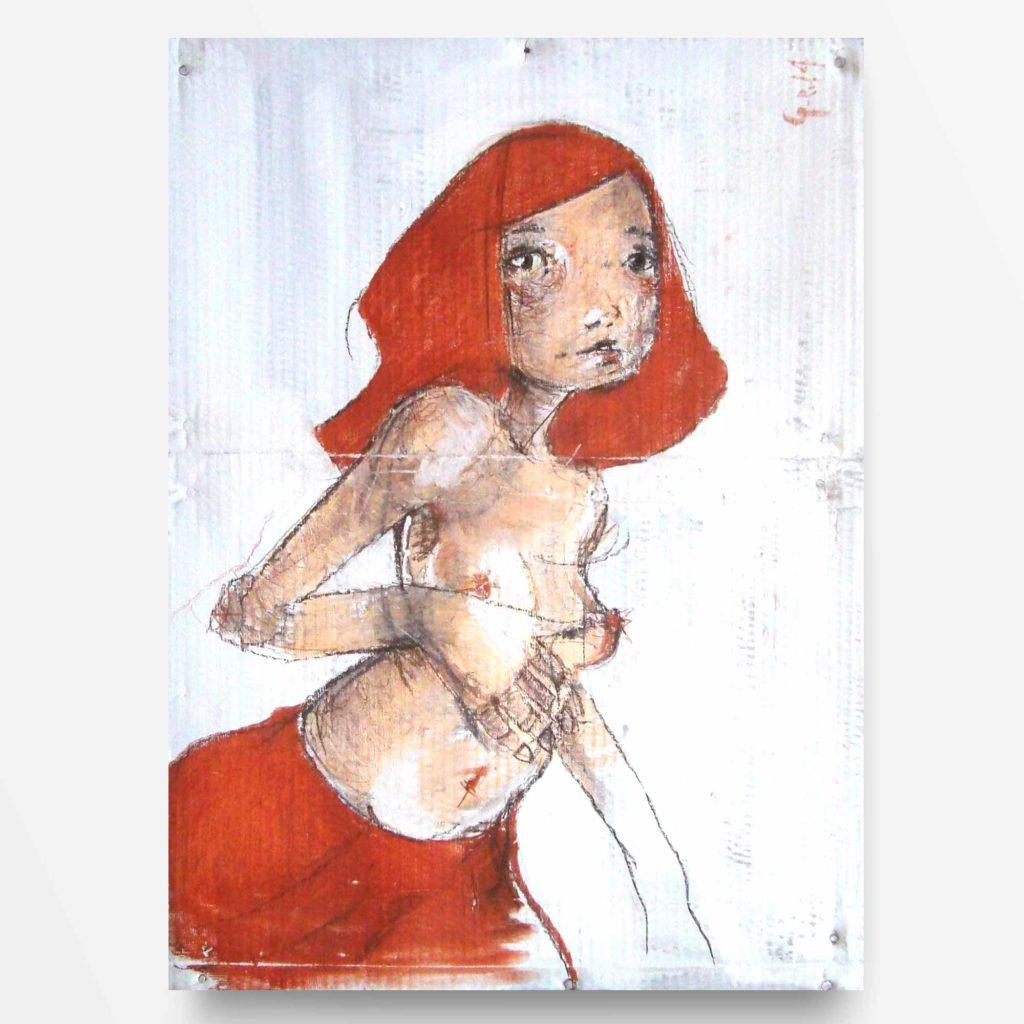 2014 ragazza dai capelli rossi 70x50 diego gabriele 00 quadro ad acrilico