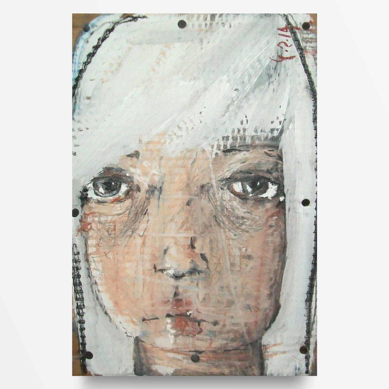 2014 Anni Dieci Ragazza dai capelli bianchi quadro ad acrilico di Diego Gabriele