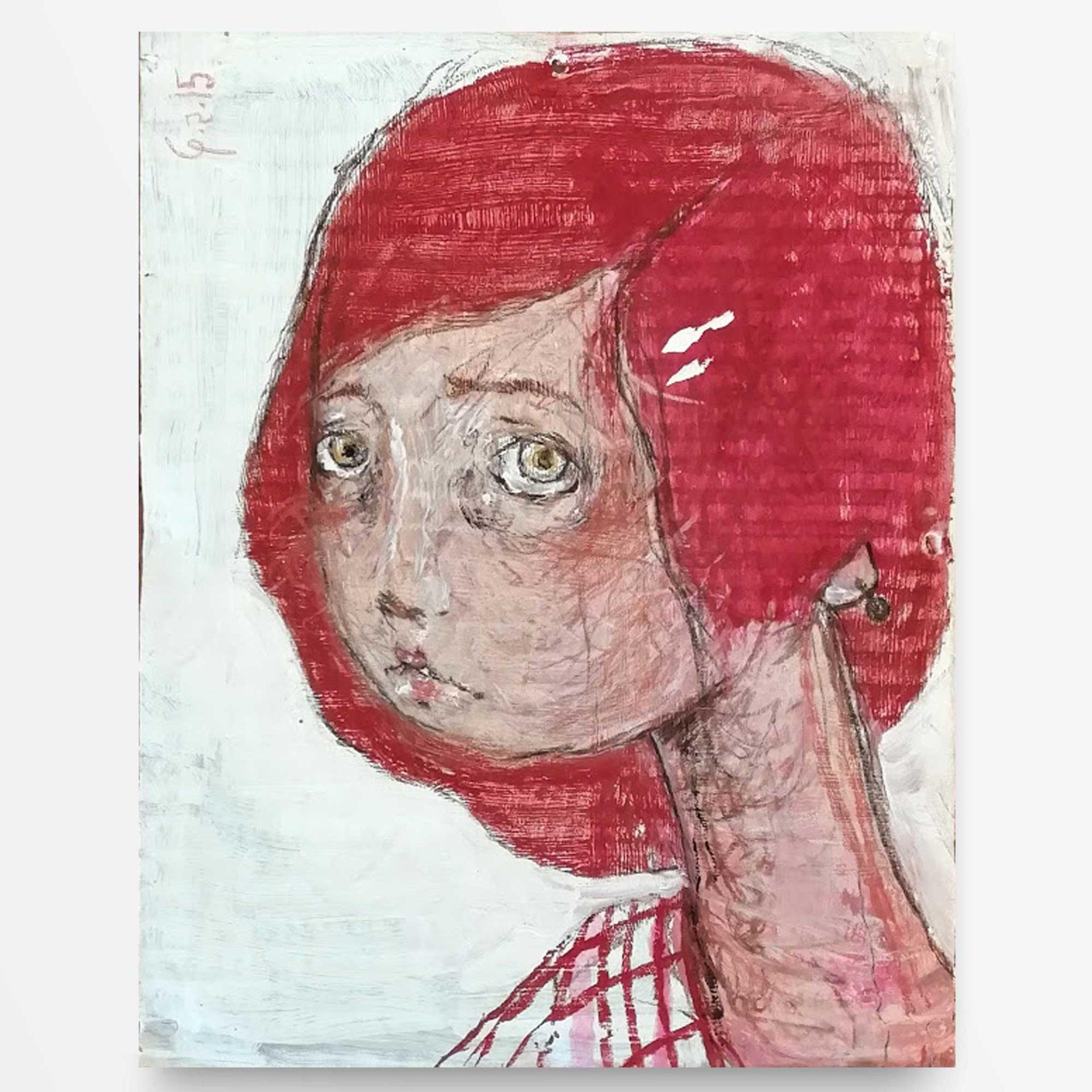 2015 Ritratto dai capelli rossi, quadro ad acrilico di Diego Gabriele