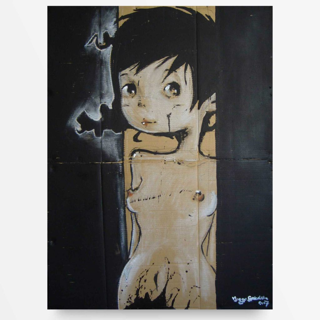 lowbrow art Bimba su fondo nero quadro ad acrilico Diego Gabriele