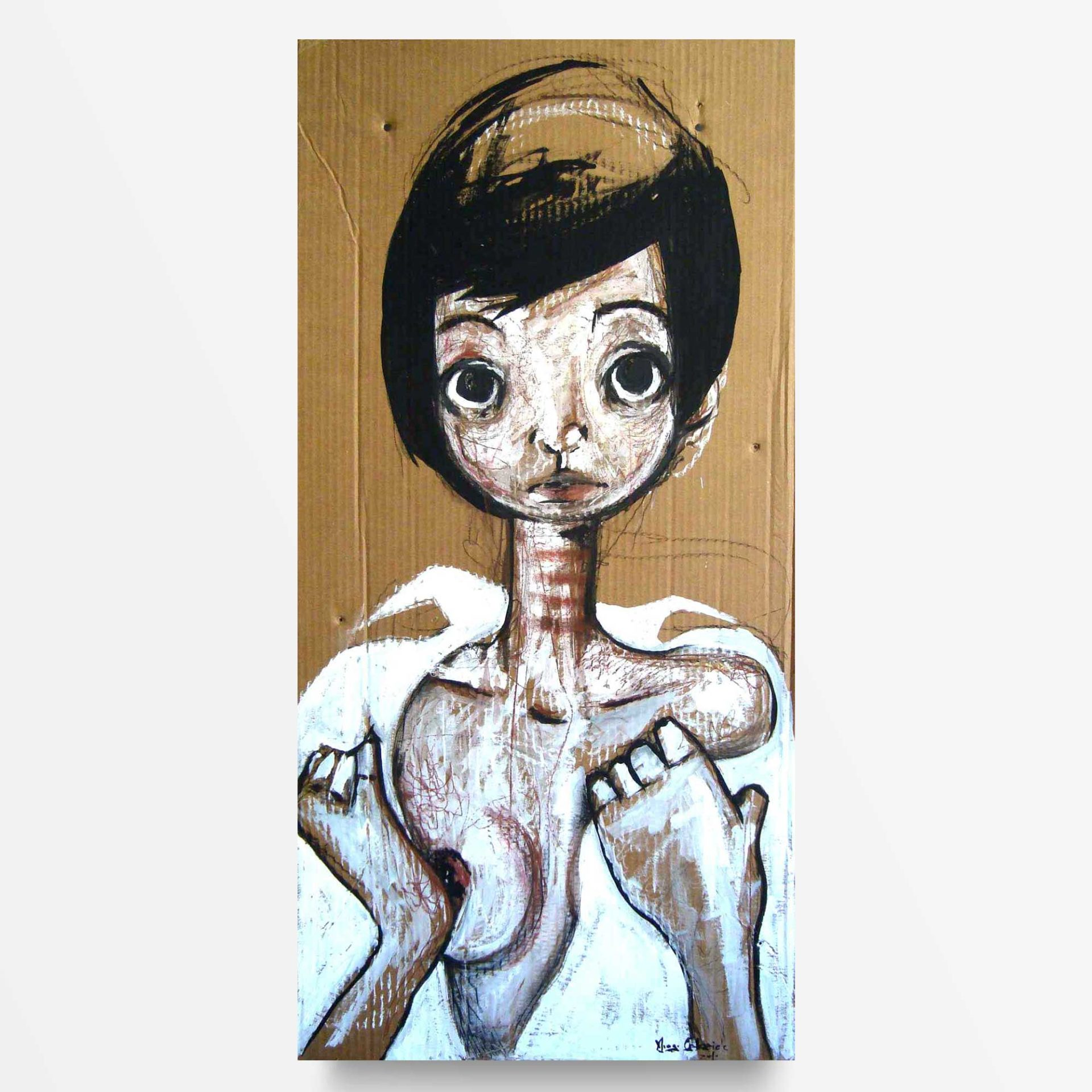 Lowbrow Art Ma sono nude Camicia bianca quadro ad acrilico Diego Gabriele
