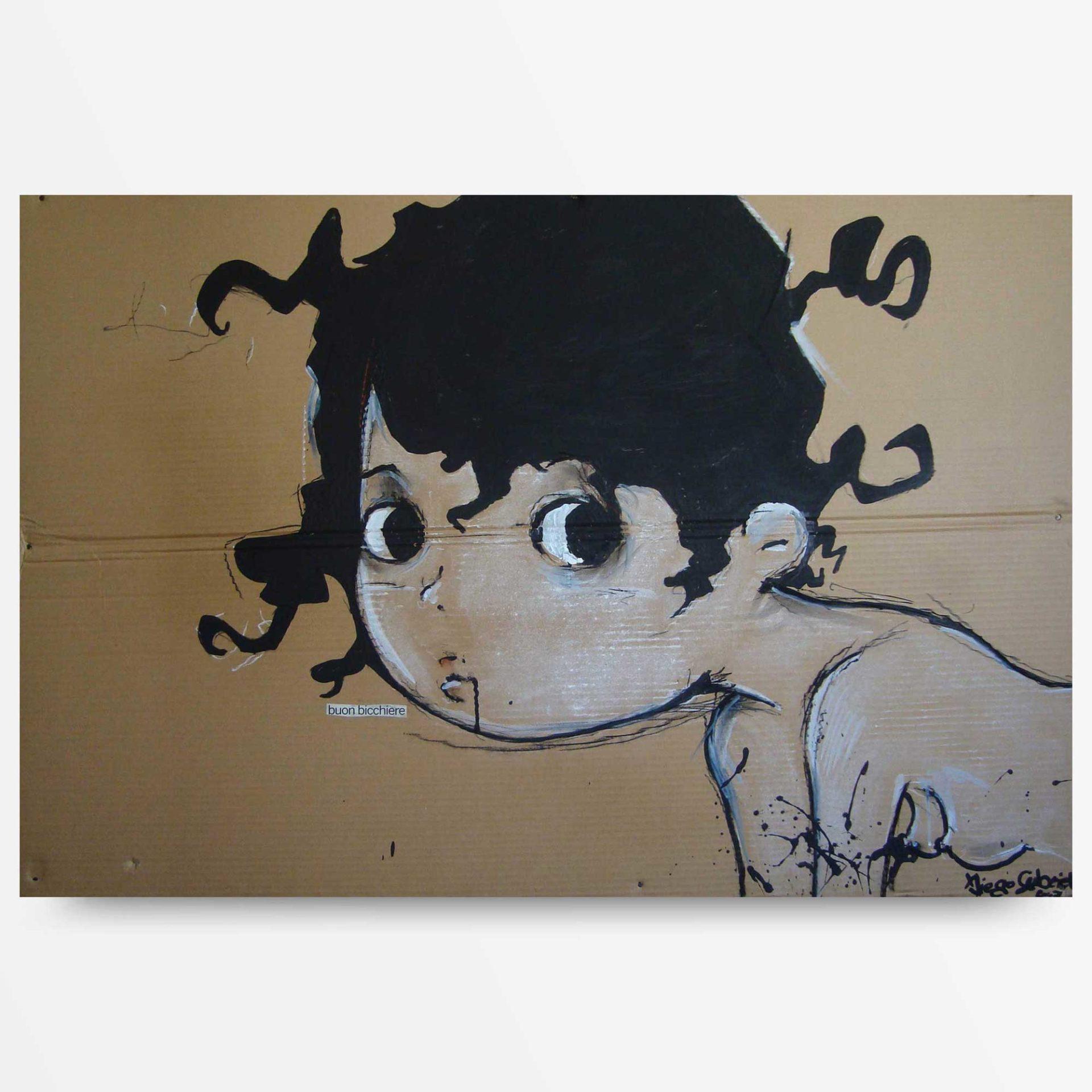 lowbrow art un buon bicchiere quadro ad acrilico Diego Gabriele