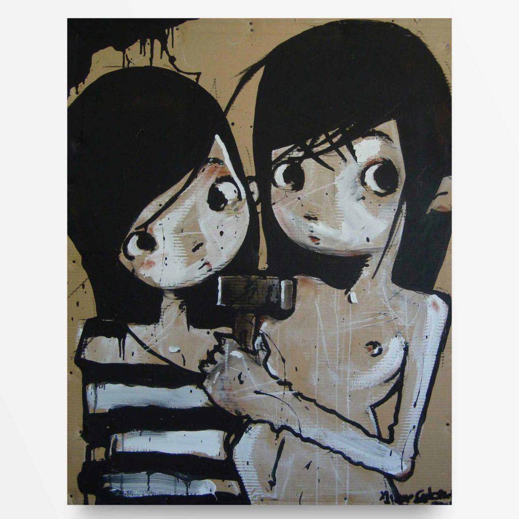 lowbrow art Valzer di Stupri quadro ad acrilico Diego Gabriele