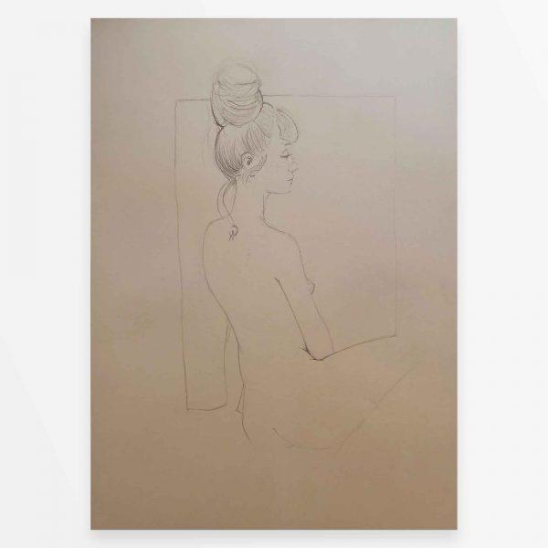 Ragazza inglese disegno originale nudo femminile di Diego Gabriele