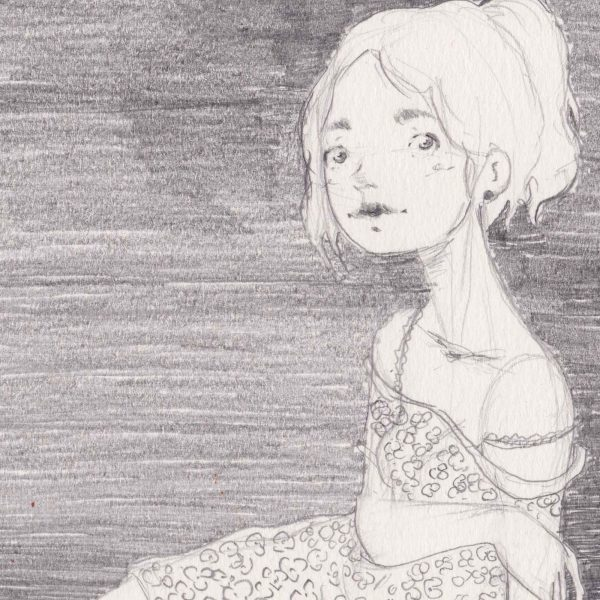 Illustrazione originale di Diego Gabriele - Vestito a fiori