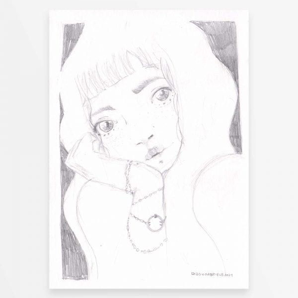 Disegno originale - Ragazza con Uroboro - Diego Gabriele